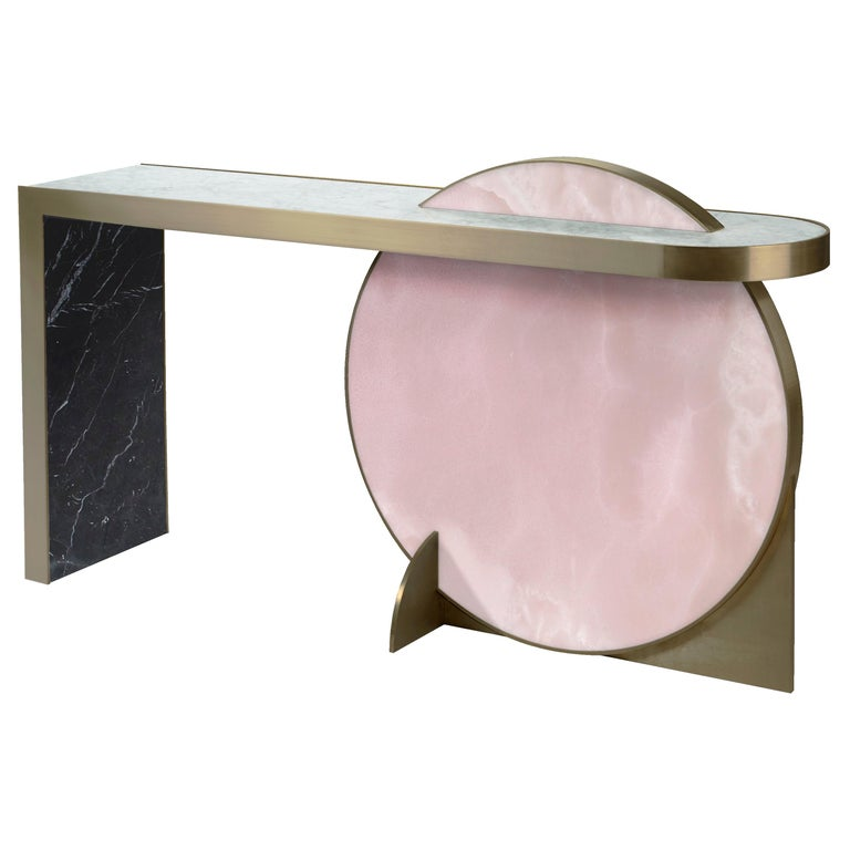 The Collision Console Carrara Marble and Brushed Brass, Onyx, by Lara Bohinc For Sale