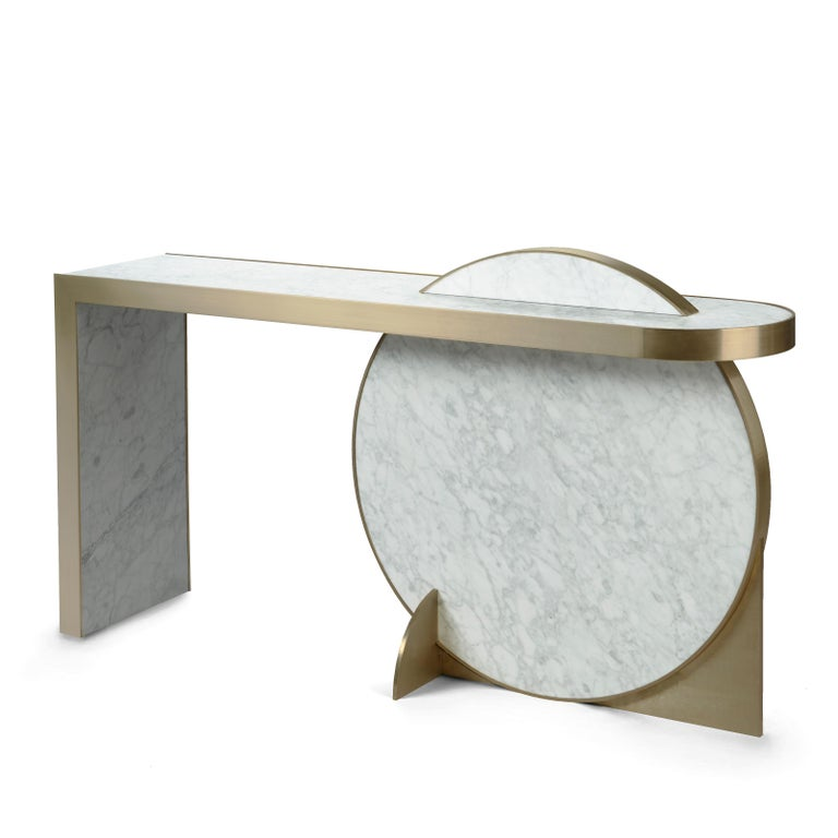Modern The Collision Console Carrara Marble and Brushed Brass, Snow, by Lara Bohinc For Sale