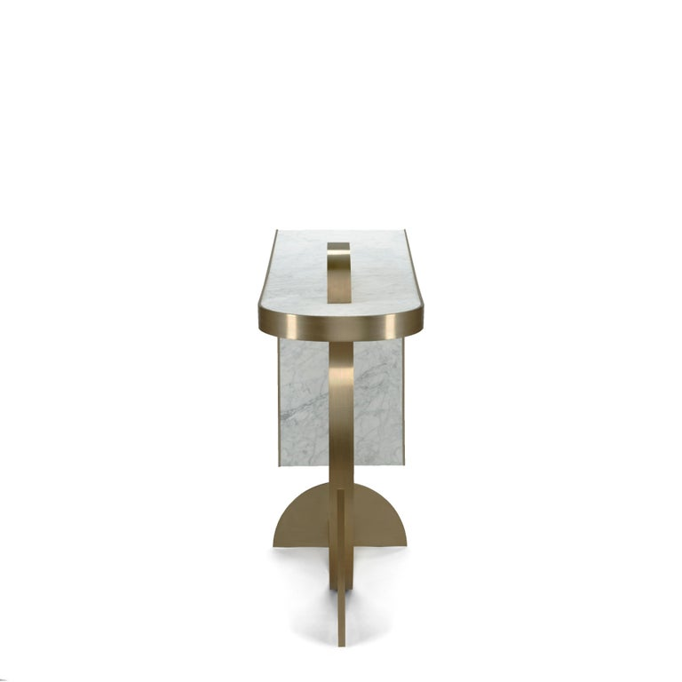 Italian The Collision Console Carrara Marble and Brushed Brass, Snow, by Lara Bohinc For Sale