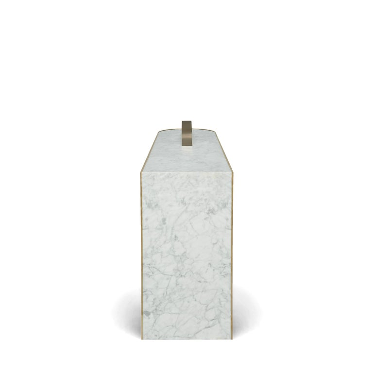 The Collision Console Carrara Marble and Brushed Brass, Snow, by Lara Bohinc In New Condition For Sale In London, GB