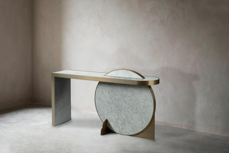 Contemporary The Collision Console Carrara Marble and Brushed Brass, Snow, by Lara Bohinc For Sale