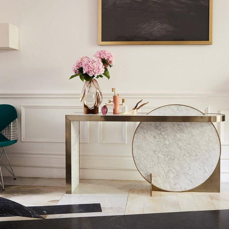 The Collision Console Carrara Marble and Brushed Brass, Snow, by Lara Bohinc For Sale 1