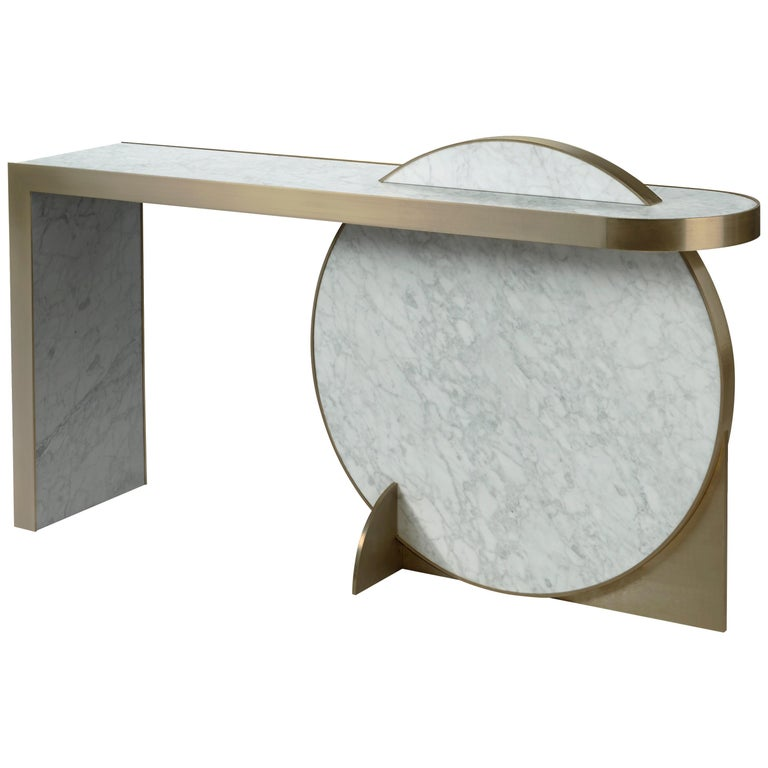 The Collision Console Carrara Marble and Brushed Brass, Snow, by Lara Bohinc For Sale