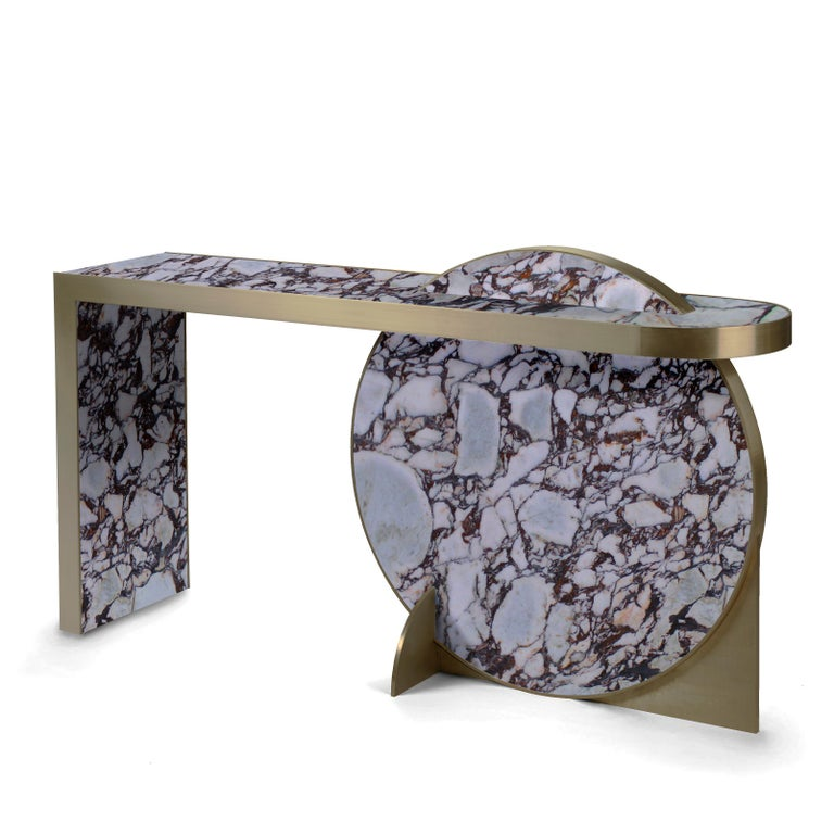Modern The Collision Console Carrara Marble and Brushed Brass, Viola, by Lara Bohinc For Sale
