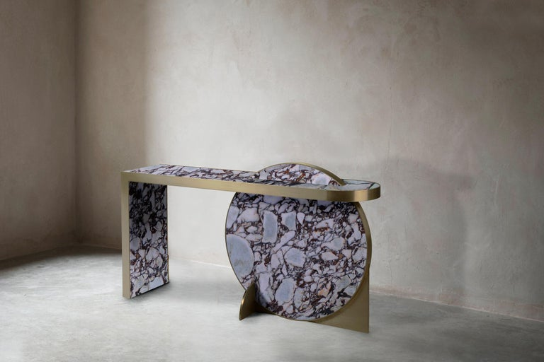 Contemporary The Collision Console Carrara Marble and Brushed Brass, Viola, by Lara Bohinc For Sale