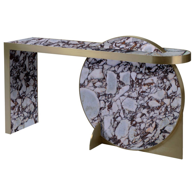 The Collision Console Carrara Marble and Brushed Brass, Viola, by Lara Bohinc For Sale