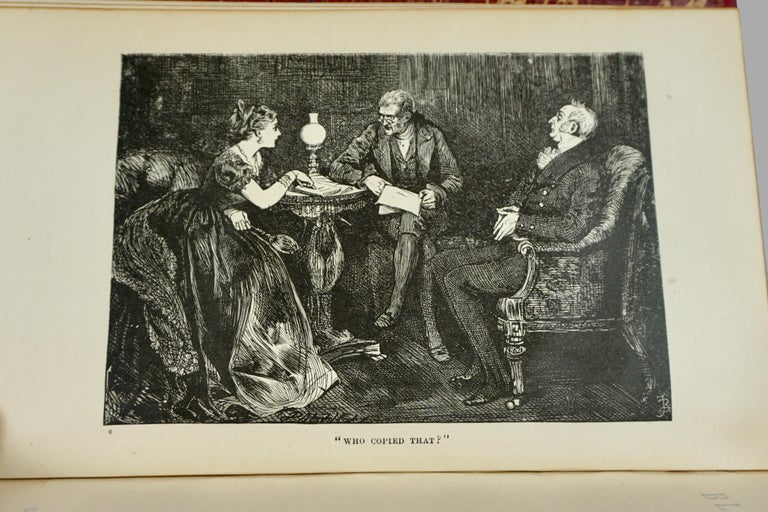 American The Complete Works of Charles Dickens Bound in Red Leather and Marbleized Paper For Sale