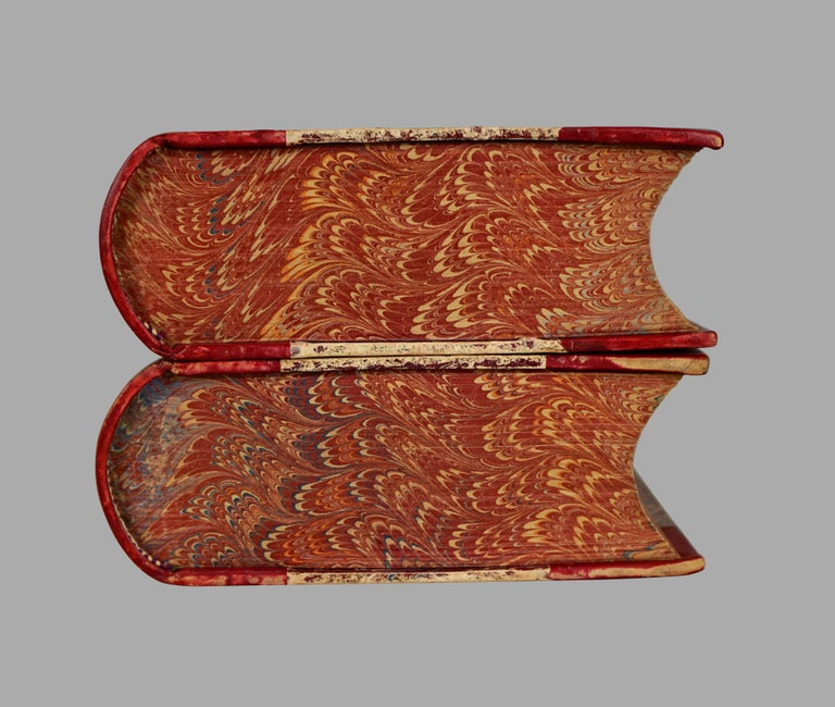 The Complete Works of Charles Dickens Bound in Red Leather and Marbleized Paper In Good Condition For Sale In San Francisco, CA