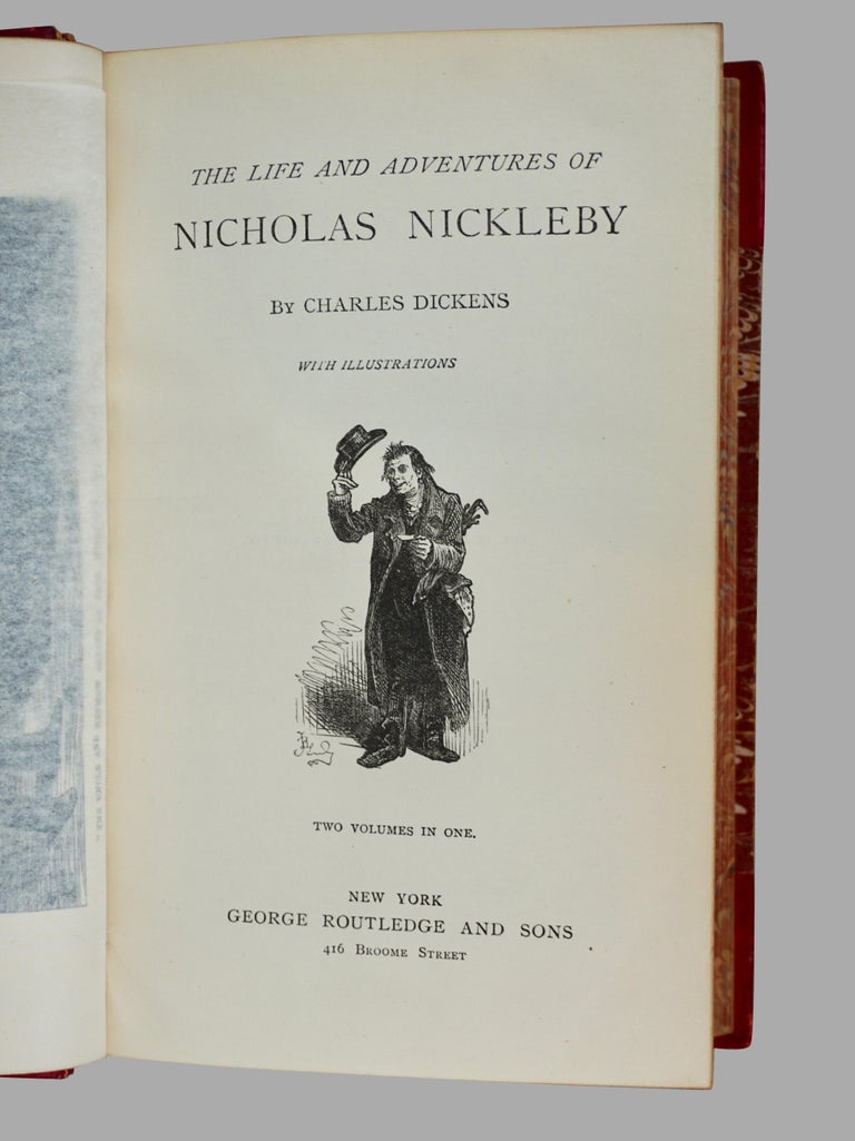 19th Century The Complete Works of Charles Dickens Bound in Red Leather and Marbleized Paper For Sale
