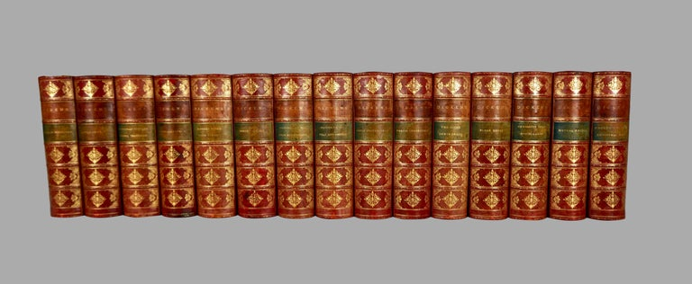 The Complete Works of Charles Dickens Bound in Red Leather and Marbleized Paper For Sale 1