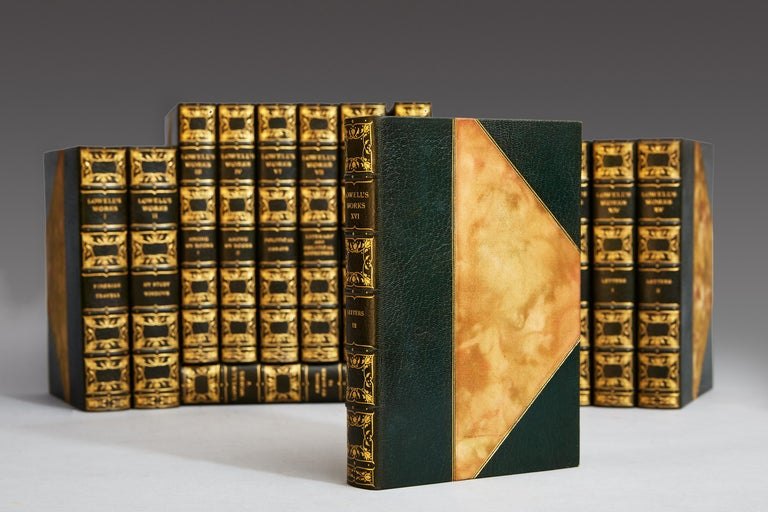 James R. Lowell  Cambridge: Riverside Press, 1904.   Sixteen volumes. Octavo, three-quarter dark green morocco, gilt spines, top edges gilt. Illustrated with steel portraits and photogravures.   A handsomely bound set in fine condition.