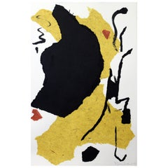 """""""The Continental,"""" 2020 Large Framed Black, White & Yellow Collage by Diane Love"""