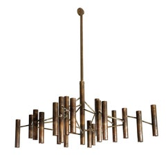 Copper Tube Chandelier