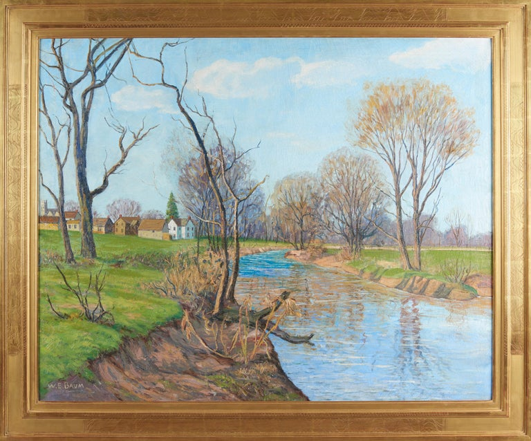 Large oil on canvas painting of a landscape with a creek and several houses. Titled