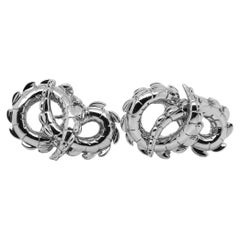Crocodile Tail Earrings in 18ct White Gold