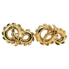 Crocodile Tail Earrings in 18ct Yellow Gold