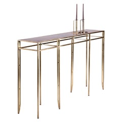The Daddy Longlegs Console, 8-Legged Brass Frame, Patinated Bronze Top