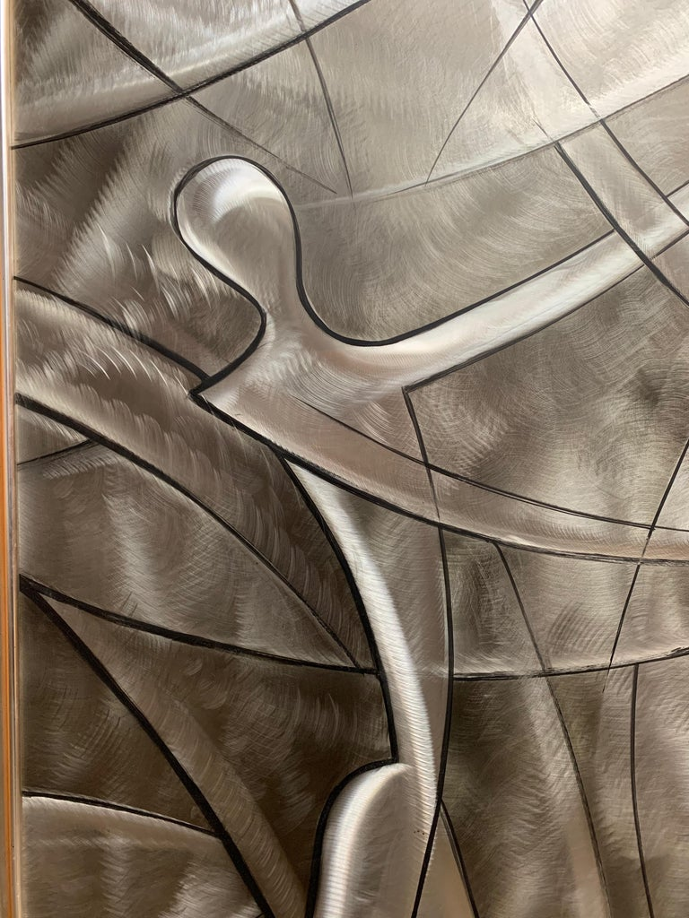 Etched stainless steel with paint accents wall art titled