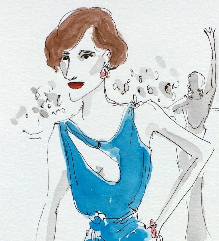 The Danish Girl Eddie Redmayne in Atelier Versace by Manuel Santelives Image Size: 12 in. H x 9 in. W inches Frame Size: 13 in. H x 10 in. W One of a kind watercolor in archival paper  Signed and dated by the artist Framed   Manuel Santelices