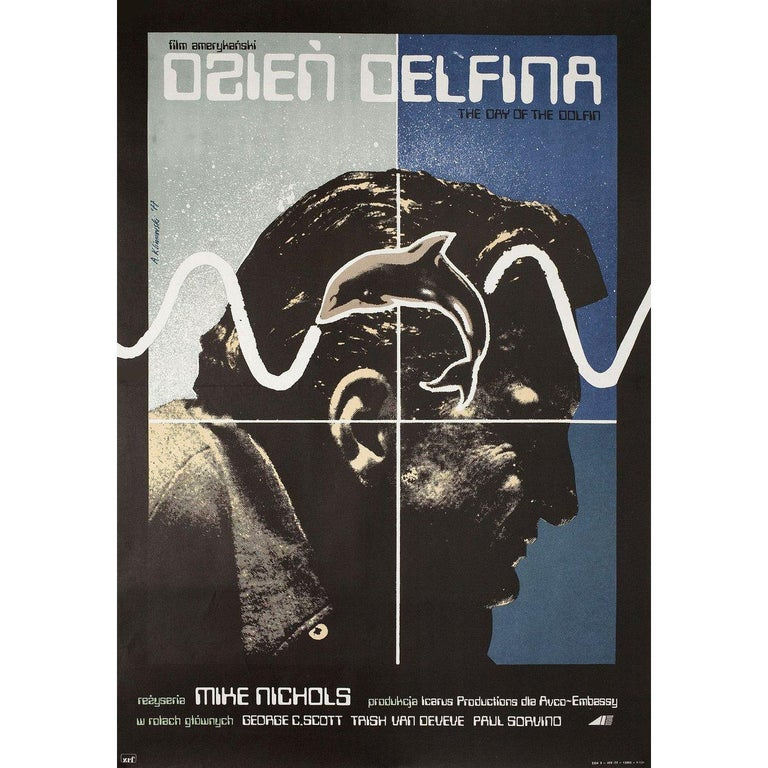 Original 1975 Polish A1 poster by Andrzej Klimowski for the film 'The Day of the Dolphin' directed by Mike Nichols with George C. Scott / Trish Van Devere / Paul Sorvino / Fritz Weaver. Fine condition, folded. Many original posters were issued