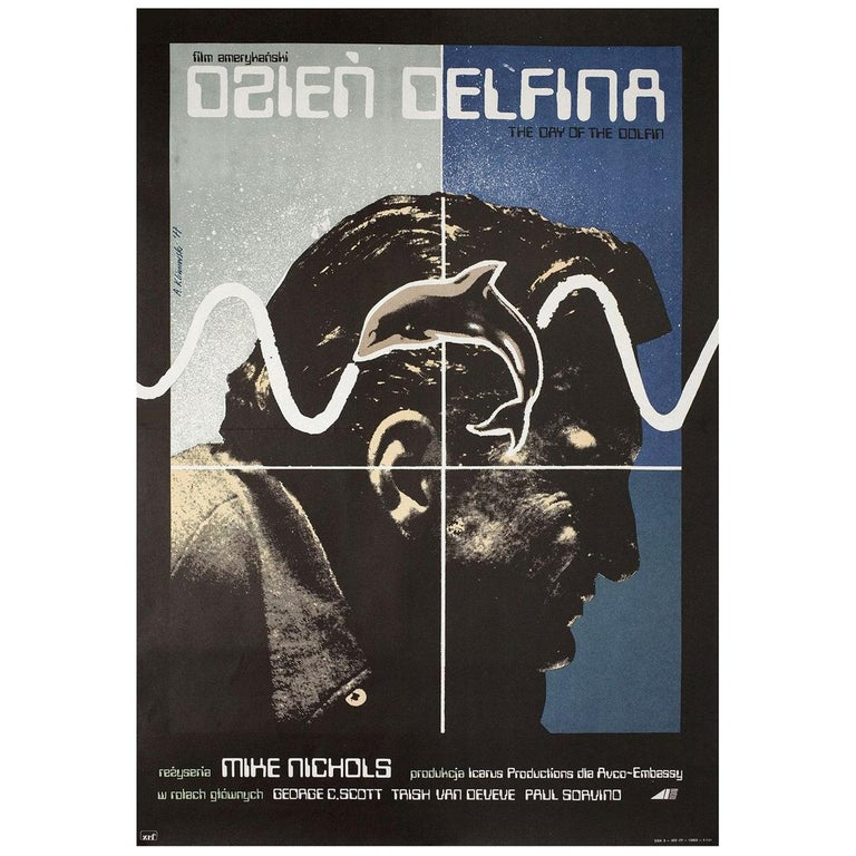 'The Day of the Dolphin' 1975 Polish A1 Film Poster