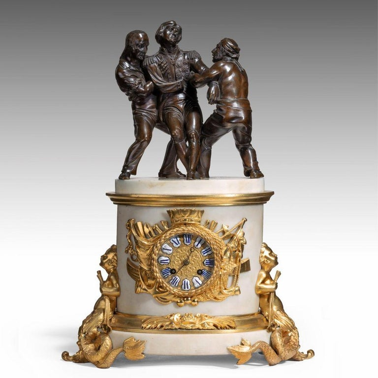 'The Death of Nelson' Commemorative Striking Mantelpiece Clock In Good Condition For Sale In Lymington, Hampshire