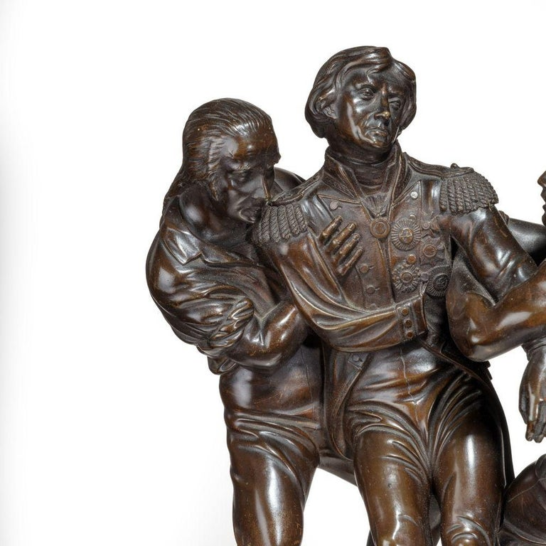 Mid-19th Century 'The Death of Nelson' Commemorative Striking Mantelpiece Clock For Sale
