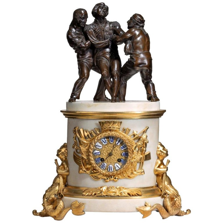 'The Death of Nelson' Commemorative Striking Mantelpiece Clock For Sale