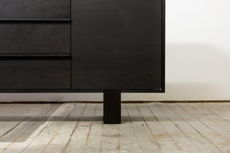 Modern Contemporary Ink Stained Walnut Credenza / Dresser by Kate Duncan  For Sale