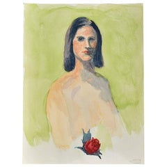 The Debutante by Clair Seglem Green Portrait Painting of a Nude Woman