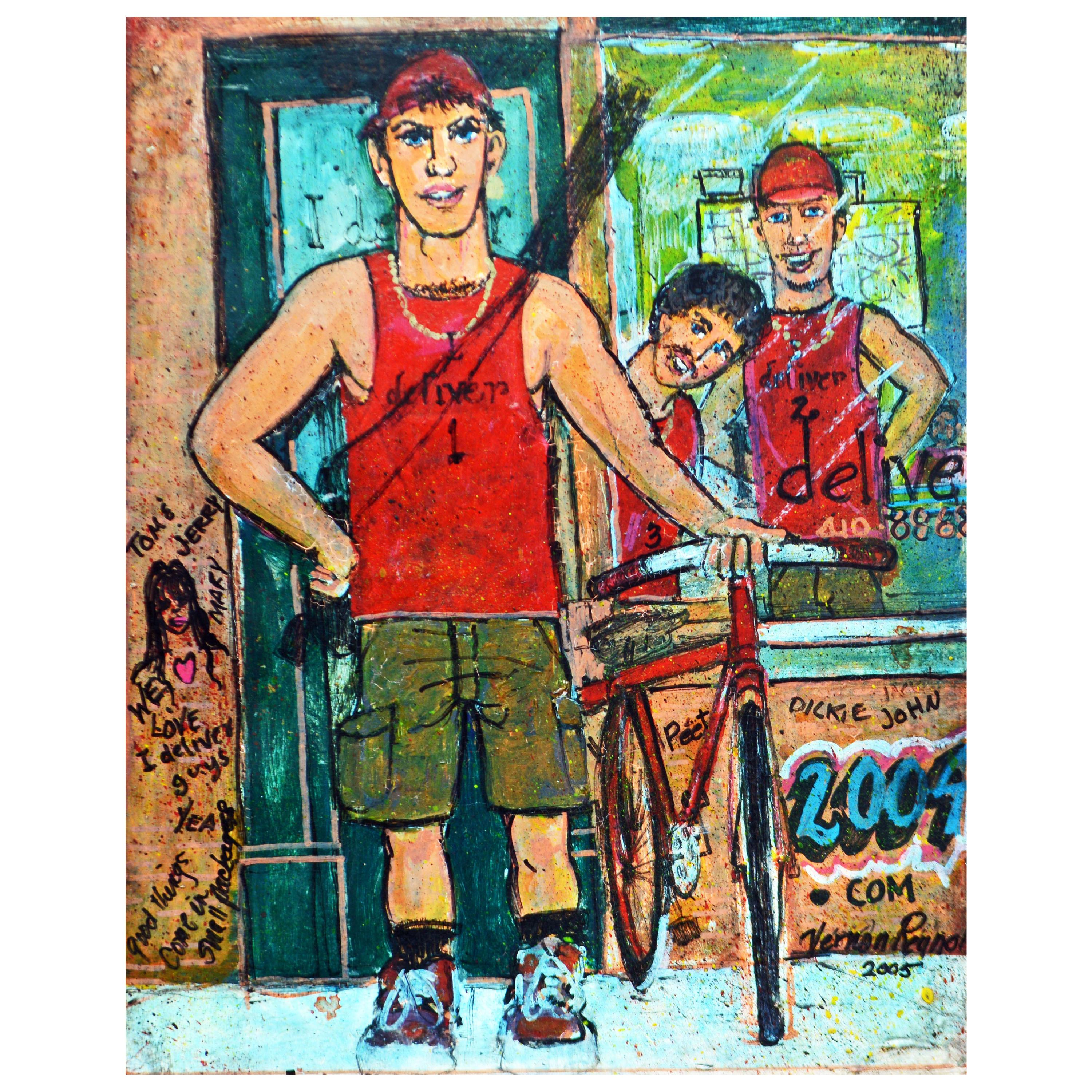 'The Delivery Boys' Original Painting by Baltimore Artist Vernon Reynolds