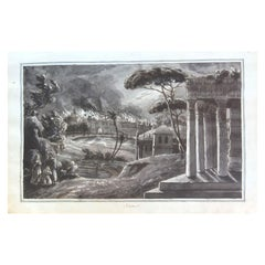 """""""The Destruction Of Sodom And Gomorrah"""" Drawing on 18th Century Paper"""