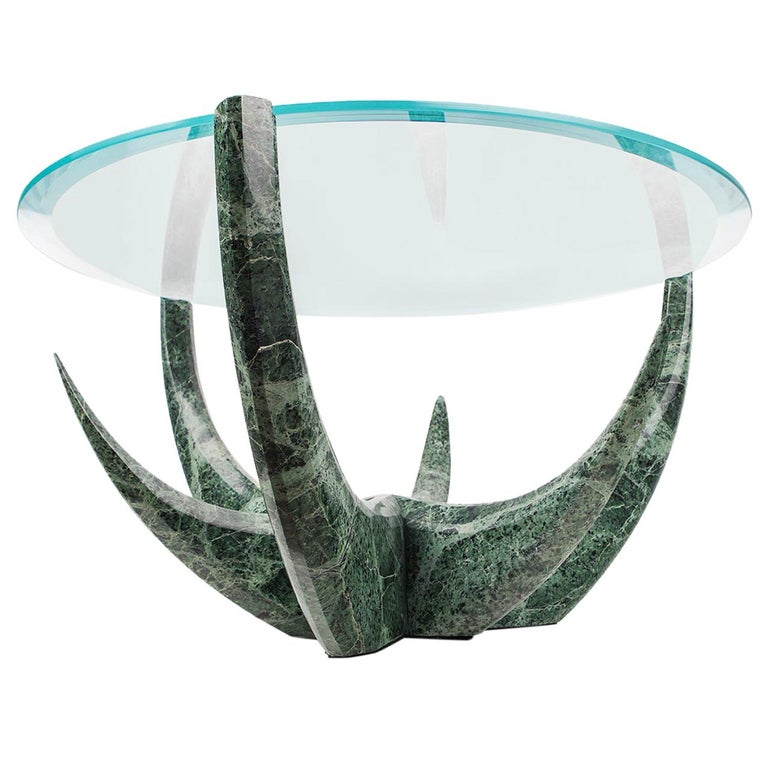 """The Diamond Aloe"" Green Marble Coffee Table by Grzegorz Majka For Sale"