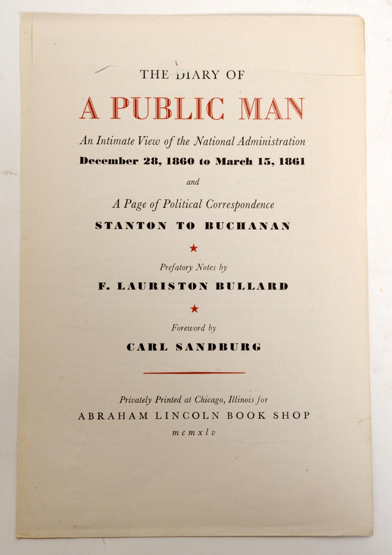 Mid-20th Century The Diary Of A Public Man an Intimate View of the National Administration 1/500 For Sale