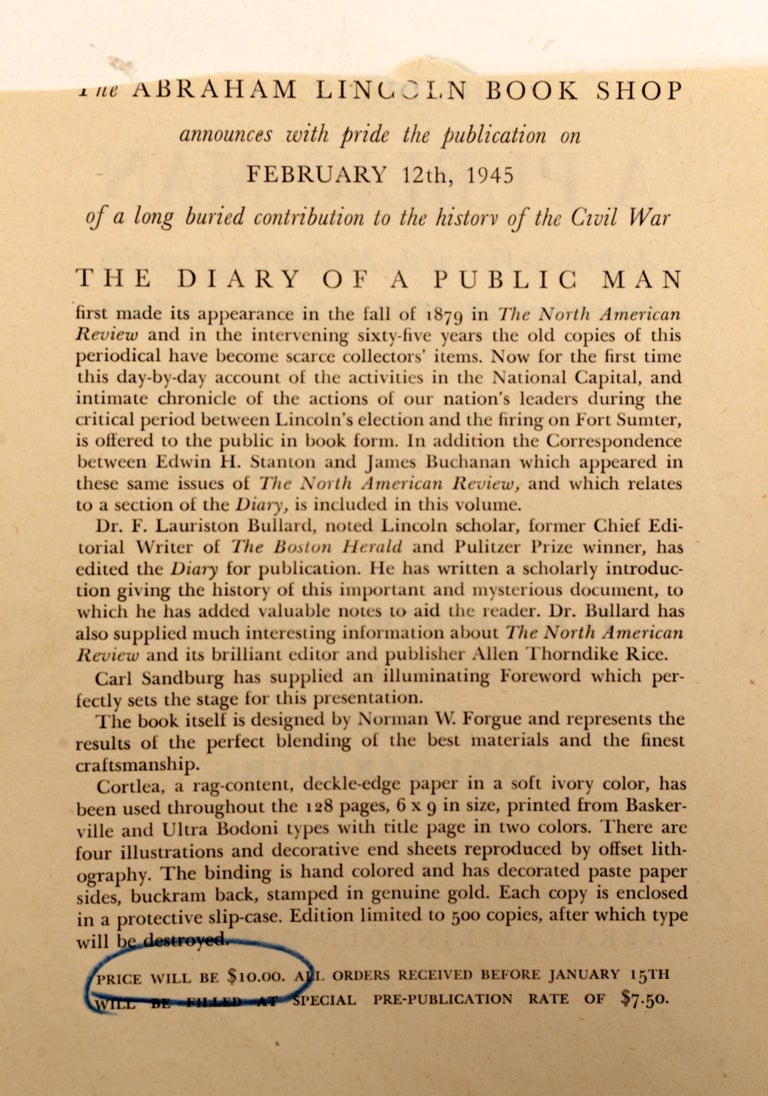 Paper The Diary Of A Public Man an Intimate View of the National Administration 1/500 For Sale