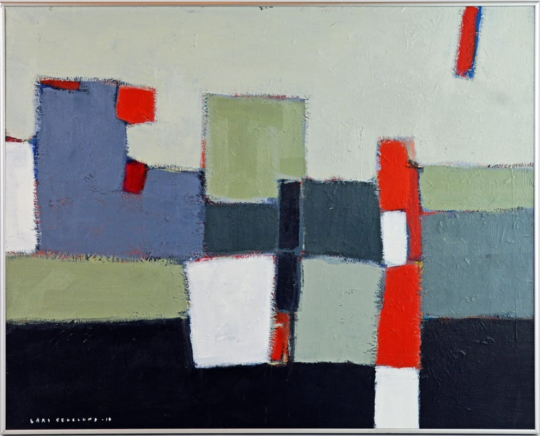 'The Docks' by Lars Hegelund, American, b. 1947. Measures: 24 x 30 in. without frame, 25 x 31 in. including frame, Acrylic on canvas, signed and dated. Housed in a Minimalist style brushed aluminium frame.  About Lars Hegelund: Lars Hegelund