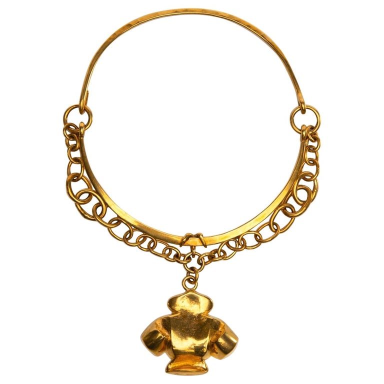 The Dove of Peace, Gilt Bronze Necklace, Line Vautrin 'France' For Sale