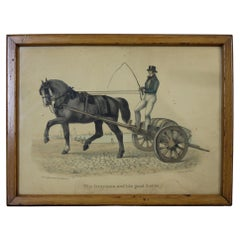 The Drayman And His Good Horse by A Koellner Color Lithograph Whiskey Barrel