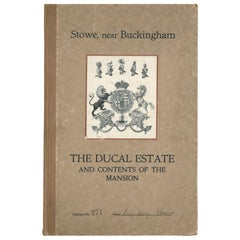 """""""The Ducal Estate of Stowe and Contents of the Mansion,"""" Sale Catalogue, 1921"""