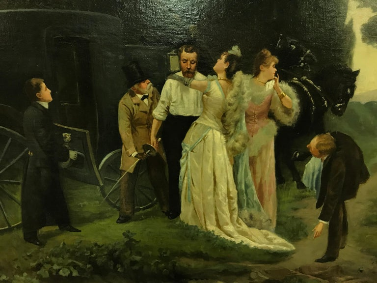 A finely painted oil of two gentleman fighting over a beautiful woman. Maroniez was known as a genre and landscape painter - the major elements of this large painting. It is in its original frame. Signed lower right. He exhibited at the Society