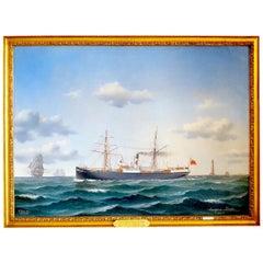 "Dundee Steamship ""Lindisfarne"" by Danish 19th Century Artist Jorgen Dahl"