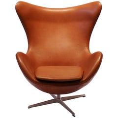 The Egg, Model 3316, Cognac Leather by Arne Jacobsen and Fritz Hansen