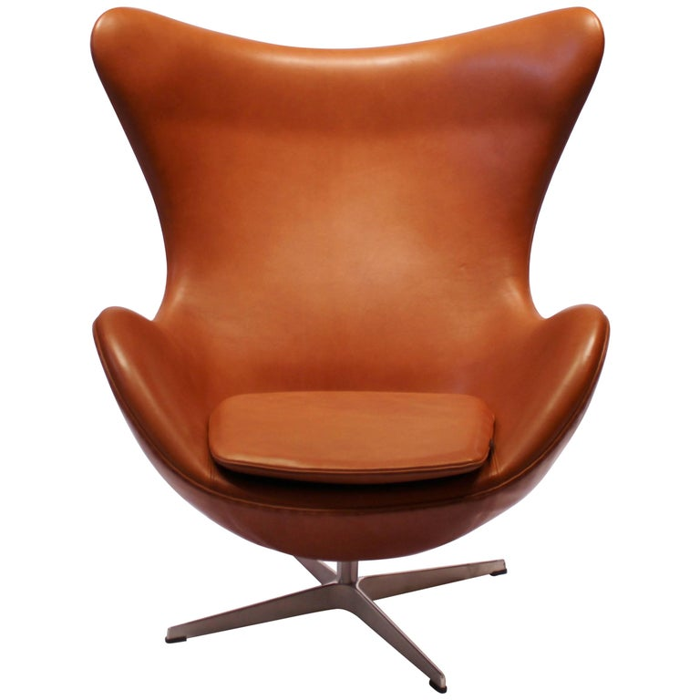 The Egg, Model 3316, Cognac Leather by Arne Jacobsen and Fritz Hansen For Sale