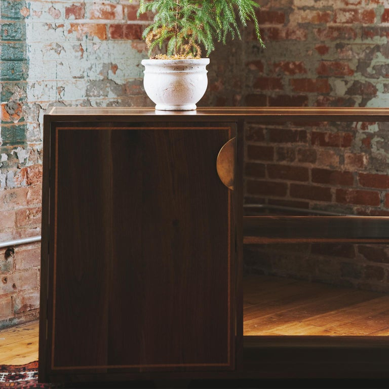 Hand-Crafted Elder Solid Walnut Credenza with White Oak Inlay and Brass Handles For Sale