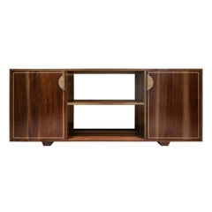 Elder Solid Walnut Credenza with White Oak Inlay and Brass Handles