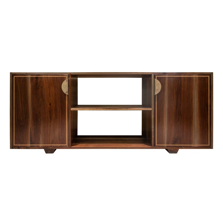 Elder Solid Walnut Credenza with White Oak Inlay and Brass Handles For Sale