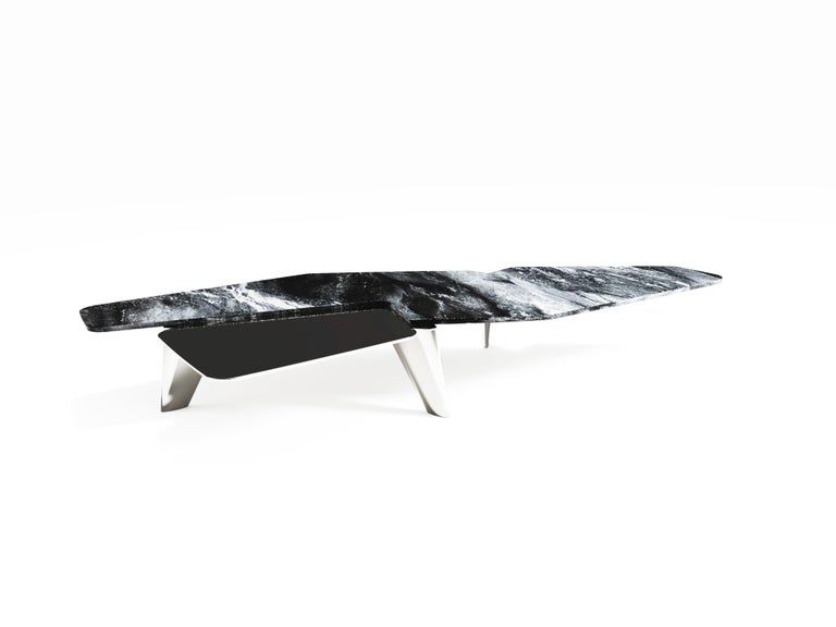 """The Elements II coffee table by Grzegorz Majka Edition 1 of 1 Dimensions: 87 x 59 x 13 in Materials: Marble, solid stainless steel plate in brushed finish  """"The Elements II"""" - contemporary center coffee table featuring marble and solid"""