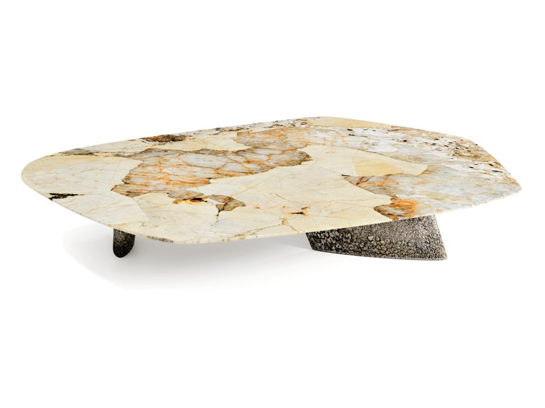 """The Elements III coffee table, 1 of 1 by Grzegorz Majka Edition 1 of 1 Dimensions: 87x59x13 in Materials: Aluminium, quartz and nickel  """"The Elements III"""" is one of a kind and one of the series of various coffee and center tables that will be"""