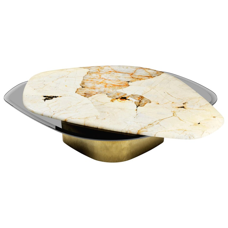 """Elements VIII"" Modern Center Table ft Quartzite Glass & Brass by Grzegorz Majka For Sale"