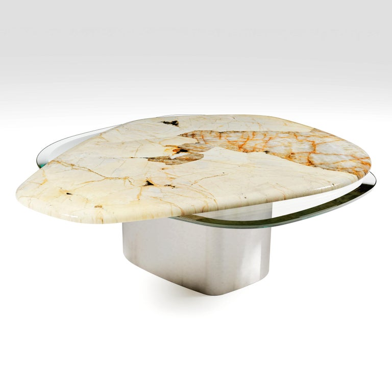 Polish The Elements Modern Center Table Ft. Patagonia, Glass & Steel by Grzegorz Majka For Sale